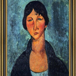 """Art MegaMart - Amedeo Modigliani The Blue Blouse - 18"""" x 24"""" Framed Premium Canvas Print - 18"""" x 24"""" Amedeo Modigliani The Blue Blouse framed premium canvas print reproduced to meet museum quality standards. Our Museum quality canvas prints are produced using high-precision print technology for a more accurate reproduction printed on high quality canvas with fade-resistant, archival inks. Our progressive business model allows us to offer works of art to you at the best wholesale pricing, significantly less than art gallery prices, affordable to all. This artwork is hand stretched onto wooden stretcher bars, then mounted into our 3 3/4"""" wide gold finish frame with black panel by one of our expert framers. Our framed canvas print comes with hardware, ready to hang on your wall.  We present a comprehensive collection of exceptional canvas art reproductions by Amedeo Modigliani."""