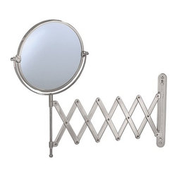 "Gatco - Accordion Wall Mirror in Satin Nickel - Get an even closer look. The Accordion Wall Mirror in Chrome from Gatco is a must-have for every bathroom. The two-sided mirror is attached to an accordion arm which can extend an amazing 26 out from the wall. The traditional style, classic finish and quality construction, along with the 3x magnification on one side make this piece pleasing to any bathroom. Features : - Wall and Vanity Mirrors Collection. - Available in a chrome finish. - Traditional style. - Made of solid forged brass. - Two-sided mirror. - 3X Magnification on one side. - Must be installed into the wall. - Exposed screws. - Accordion arm, 26"" when fully extended. - Also available separately in the following finishes : - Satin Nickel. - Polished Brass. - Dimensions : 5 - 26"" L Arm, 7.5"" Diameter. -Dimensions: 145"" H x 26.5"" W.."