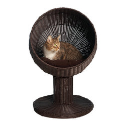 """Kitty Ball Bed in Espresso - Your kitty loves to get into enclosed spaces like baskets, but he also loves to be off the ground. This kitty ball bed offers both in one — complete with a plush cushion for sleeping. """"Finally"""", he thinks, """"A bed designed exactly for me!"""" Don't tell him it's also designed for you: the stylish mod shape is visually eye-catching and comes in a handsome, hand-woven faux rattan that'll stand up to kitty's occasional clawing."""