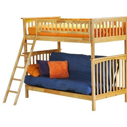 Columbia Bunk bed twin/futon in Natural Maple by Atlantic Furniture - The Columbia Bunk Bed is the perfect mission-style bunk bed for your children's bedroom. Available in twin-over-twin, twin-over-full, or twin-over-futon designs with railings on the top bunk, the sturdy Columbia Bunk Bed is constructed of solid hardwood. Add optional under-bed storage drawers or an optional trundle unit (neither option works with twin-over-futon style) under the bed to provide even more convenient space. The bunk bed comes with two modesty panels, which can be attached to both ends of the bunk bed to give the Columbia Bunk Bed a more grounded look. Available in Natural Maple, Antique Walnut, and White finishes, the Columbia Bunk Bed is sure to become your child's favorite sleepy-time fort.