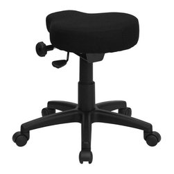 Flash Furniture - Black Saddle-Seat Utility Stool with Height and Angle Adjustment - This backless stool is practical for any fast-paced environment. The small frame design of a backless stool makes it easy to maneuver around tight spaces with ease. This stool can be used in a multitude of environments from the Classroom, Doctor's Offices, Hospitals, Garages and Workshops.