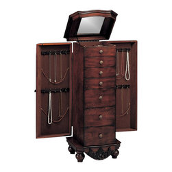 Coaster - Coaster 7-Drawer Antique Jewelry Armoire in Dark Cherry - Coaster - Jewelry Armoires - 900065 - Store all your jewelry with this clean, stylish antique mahogany jewelry armoire. This elegant armoire features specially designed storage spaces for rings, necklaces and more. The classic lines of this accent piece and its inherent sophistication will ensure a lasting appeal.