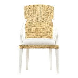 "Stanley Furniture - Coastal Living Resort Water's Edge Woven Arm Chair - Amazing how arms can lend such gravitas to a chair. The Water's Edge Woven Arm Chair marries casual charm, found in its woven water hyacinth back, with more formal leanings, concentrated in the sloped wooden arms. Let it grace your next gathering and see if you don't find yourself sitting a bit prouder. Seat height: 19 1/4"" H Arm height: 25"" H Fabric: Solana Sand Made to order in America."