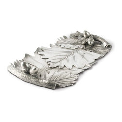 Vagabond House - Acorn and Oak Leaf Pewter Bread Tray - This tray is an elegant serving piece for breads and pastries of all kinds. The body of the tray is imagined as cast, overlapping oak leaves. Cast branches form the sturdy handles and a cluster of detailed acorns embellishes the tray at each end.
