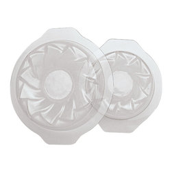 Paderno World Cuisine - Flower Shape Round Semifreddo Molds, Set of 2, 8-5/8in. and 6-5/8in. - This Paderno World Cuisine set of 2 flower shape molds is for semifreddo desserts. Semifreddo is an Italian word which means  in. half cold in.  and refers to semi-frozen desserts, such as semi-frozen custards which have the texture of frozen mousse. As the final product is not baked but frozen, a plastic mold may be used. Each mold, due to its original and creative style, creates spectacular designs and presentations. Each mold is sold as a set of two different sizes of the same pattern.