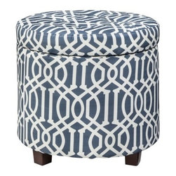 Threshold Round Tufted Storage Ottoman, Blue/White Trellis - This tufted storage ottoman looks like it was made to be in my son's room. It's perfect for putting up my feet while reading stories, and it could easily stow away toys, books or supplies.