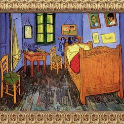 Amanti Art - Bedroom at Arles, St. Remy, September 1889  by Vincent van Gogh - One of van Gogh's most well known images, this painting of his bedroom in Arles was also one of his personal favorites. He wrote extensively to his family about it, describing it in thirteen different letters. While the simple subject of a bedroom is given added interest through the odd angles and perspective, it is also unique in that it is the only time van Gogh depicts representations of his other paintings in his work.