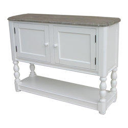 Tradewinds - Coastal Newport Console Table with Storage, Riverwash top with White - This Newport console table in coastal living furniture style makes a great furnishing item for adding plenty of storage space into the room where it is placed. Yet, its ideal size makes it perfect to keep it against a wall or in a corner. Or you can place a bookshelf, hutch, decorative items, collectables and many more products above it. Options are endless!