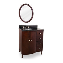 "30"" understated elegance vanity - This 30"" wide solid wood vanity features a rich mahogany finish and polished nickel hardware. The clean lines, cabriole feel and elegant bow front shape add understated elegance. A large cabinet and offset bank of fully functional drawers, equipped with full extension soft close slides, provide ample storage. This vanity has a 2.5CM black granite top preassembled with an  (15"" x 12"") bowl, cut for 8"" faucet spread, and corresponding 2CM x 4"" tall backsplash. Overall Measurements: 30"" x 23"" x 36"" (measurements taken from the widest point"