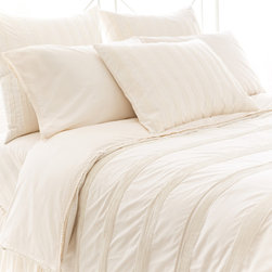 Pine Cone Hill - PCH Pintuck Ivory Duvet Cover - Contemporary bedding gets a layer of elegance and sophistication with the Pintuck duvet cover. This beautifully textured style is created with the quality craftsmanship for which PCH is known. Available in twin, full/queen and king sizes; 100% cotton; Ivory; Knife edge; Button closure; Insert not included; Designed by Pine Cone Hill, an Annie Selke company; Machine wash cold, tumble dry low