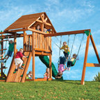 "Kids Creations - Redwood Circus 4 Swing Set - Features: -Redwood circus 4 swing set. -Set includes: safety step ladder, inclined with wide flat 2""x6"" ladder steps. -Hand-crafted quality redwood and cypress swing set. -Naturally decay resistant and virtually splinter free. -All lumber is pre-cut and drilled. -Solid frame design with extra spaced three position swing bay for safe swinging. -Swing rated at 250 lbs per swing. -Two heavy-duty, 1 piece molded belt swings with reinforced nylon grommets and UV protected to resist fading. -Matching plastisol coated 'pinch-free' chains that stay cool to the touch and won't fray or rust. -Rock climbing wall with rock grips, wood canopy, 96"" rope ladder, sandbox. -Monkey bars, ten foot heavy duty wave slide, ductile iron swing hangers. -Accessories include two telescopes, steering wheel and tic tac toe panel. -9' slide. -Limited Lifetime Warranty-"