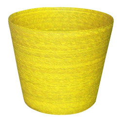 Pre-owned Palm Handwoven Waste Basket in Yellow - Made of natural palm tree leaves, this basket was handwoven in Taxco, a city in Guerrero. Palm is the major source of raw material for preparing baskets and related products on this area. This is a perfect colorful storage solution for the home.