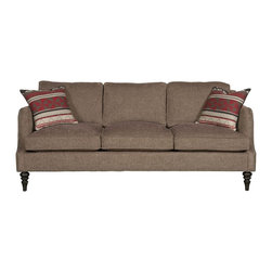 vanguard - Vangaurd Carson Sofa V433-S - Temple Teak fabric on body; Optional #9 Black Silver nails, head to head on outer edge of top arm and inback and base; Mendoza Red fabric on two throw pillows; Weathered Shingle finish