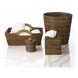 "Horchow - Tray - Handwoven by artisans in the South Pacific using vignes d'eau (water vines), each piece takes one to seven days to weave, resulting in products of elegance and durability. Imported. Tray with wrapped handles, 14""W x 10""D x 6.5""T. Round container, 4""Dia. x 5""T. Tissue box cover, 5.25""Sq. x 5.5""T."