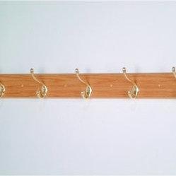 5 Hook Wooden Wall Coat Rack