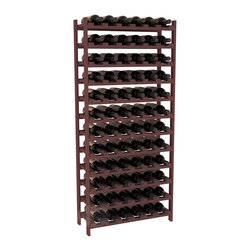 Wine Racks America - 72 Bottle Stackable Wine Rack in Ponderosa Pine, Walnut - Four kits of wine racks for sale prices less than three of our 18 bottle Stackables! This rack gives you the ability to store 6 full cases of wine in one spot. Strong wooden dowels allow you to add more units as you need them. These DIY wine racks are perfect for young collections and expert connoisseurs.