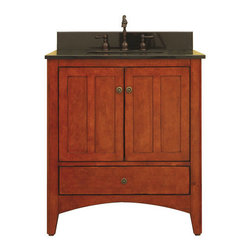 """Sunny Wood - Sunny Wood EP3021D Cinnamon / Nutmeg Expressions 30"""" Wood Vanity - 30"""" Wood Vanity Cabinet from the Expressions Collection The Expressions collection from Sunny Wood is based on the Shaker aesthetic with its casual simplicity. The vanities feature arched cross rails, tapered feet, and inset doors and drawers. Finished in a lightly distressed medium tone finish, these vanities fit into nearly every décor. Durable construction features solid face-frame construction and dual side-mount drawer slides. Accenting antique brass cabinet hardware finishes the look of the exquisite yet subtle Expressions collection. Product Details:  Dimensions: 30""""W x 21""""D x 34""""H Constructed of Maple hardwoods and veneers 2 Door, 1 Drawer Design Fully Inset Bottom Drawers Fully Concealed and Adjustable Hinges Slightly Out-Turned Shaker Styled Feet with Adjustable Foot Tabs Ample interior storage Crated and shipped assembled Expressions vanities: 30"""" (this model), 36"""" (EP3621D), 48"""" (EP4821D) Additional image is that of the 36"""" version of this vanity, but still provides reference for design characteristics and finish."""