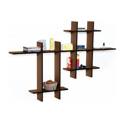 Blancho Bedding - [Lovely Chocolate-MEGA] Leather Cross Type Shelf / Floating Shelf (9 pcs) - These beautifully crafted Cross Wall Shelves display the art of woodworking and add a refreshing element to your home. Versatile in design, these leather wall shelves come in various colors. Just exert your imagination and put the boards together to light up your room. They spice up your home's decor, and create a multifunctional storage unit for all around your home. These elegant pieces of wall decor can be used for various purposes. It is ideal for displaying keepsakes, books, CDs, photo frames and so much more. Install as shown or you may separate the shelves to create a layout that suits your taste and your style. You can hang them on the wall, or have them stand on table or floor, or any way you like. Each box serves as a practical shelf, as well as a great wall decoration. Each measures approx. (W)30.9 x  (D)6 inches; (W)20.5 x  (D)6 inches; Thick: 0.6 inches.