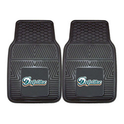 Fanmats - Fanmats Miami Dolphins 2-piece Vinyl Car Mats - A universal fit makes this two-piece mat set ideal for cars, trucks, SUVs and RVs. The officially licensed Miami Dolphins design in true team colors is permanently molded of vinyl for longevity.