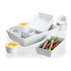 Home Essentials - 9 Piece Embossed White Bakeware Set - This attractive bake ware set combines practicality with presentation. Each ramekin or casserole dish has a lovely embossed white color and design and will enliven any table setting. The ceramic cookware set can be easily transported from the oven to table. For all convenient chefs out there, this colored bake ware set is dishwasher, freezer, microwave and oven safe.            * Set includes 6 ramekins and 3 casserole dishes.