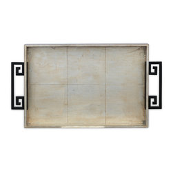 Port 68 - Mizner Silver Tray - Add a touch of modern style to your space with the Mizner Silver Tray. Featuring a distressed silver leaf finish and black metal handles in a Greek key pattern, this wooden tray is the ideal combination of functional and decorative.