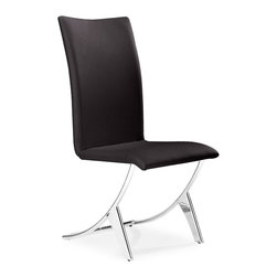 Zuo Modern - Delfin Dining Chair Espresso - Sold in Sets of 2 - Probably the most comfortable and well-thought out dining chair of our collection, the Delfin chair has a slim silhouette that belies its comfort. It sits on chromed steel tube frame that has a slight reclining motion. A great chair for a great meal and after dinner conversation.