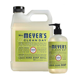 Mrs. Meyers - Mrs. Meyers Clean Day Hand Soap and Refill Set , Lemon - Mrs. Meyer's Clean Day Hand Soap and Refill Set is earth-friendly and economical. Liquid Hand Soap contains aloe vera gel, olive oil and natural essential oils to create a hard working, yet softening cleanser for busy hands. The refill is packaged in a handy jug made of 25% PCR and refills your hand soap bottle almost two and a half times. This set includes (1) Mrs. Meyer's Clean Day Liquid Soap, 12.5 oz. and (1) Hand Soap Refill, 33 oz.