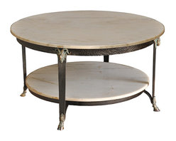 Marble Coffee Table - For the classicist: marble top, ram's head decor, and a classic look in the round!