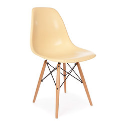 Vertigo Interiors - *Set of 6* Eames Style DSW Dining Side Chair, Cream - Looking for that retro/modern look? Something with a range of colors and quirky styling, yet a classic, cultured look? Vertigo's fantastic reproduction Eames range constantly continues to grow in popularity and is just what you're looking for! This is the dowel leg Eiffel version, combining beautiful maple legs with sleek colorful side chair seat.