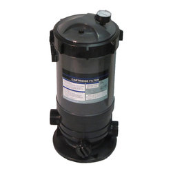 SUNSOLAR - Cartridge Filter And Pressure Gauge With Union Fittings For Swimming Pool 60Sf - This filter system has built in pressure gauge and air relief valve. The rugged filter tank is constructed of tough weather resistant and corrosion proof polymer plastic. Inside, our extra large filter elements produce water quality superior to sand filters without back washing. Large 1  inch drain plug to ensure easy clean up and quick water drainage. In-let and out-let are threaded 2  outside diameter and 2 inside diameter. Includes union fitting for 1 1/2 pipe.