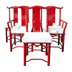Red Asian Style Dining Chairs - Set of 6 - Dimensions 19.5ʺW × 19.5ʺD × 40.0ʺH