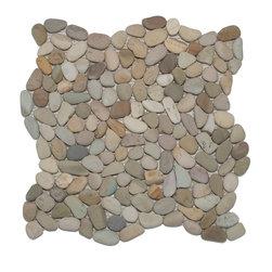 Mini Pebble Tile Mosaic - Golden Mini Pebble Tile made by Zen Paradise, Inc., interlocking pattern to create a seamless natural environment.