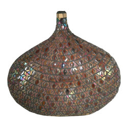 Dale Tiffany - Dale Tiffany Peacock Mosaic Traditional Decorative Vase X-26601VA - All of the items in our Peacock Series are hand set with a mosaic pattern of prismatic shades of green, purple, red and blue. Each edge on every piece is rimmed in a band of glittery gold, which lends an added air of opulence. Reminiscent of an artifact from an exotic far away land, the one of a kind styling of this decorative vase will bring a touch of intrigue to your home or office.  The addition of art glass gems in complementary tones adds texture to the design, which changes color when the vase is viewed at different angles. The unique bubble shaped design with its slender neck is sure to bring complements on your design savvy no matter where you display it.