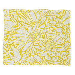 DENY Designs - Lisa Argyropoulos Daisy Daisy In Golden Sunshine Fleece Throw Blanket - This DENY fleece throw blanket may be the softest blanket ever! And we're not being overly dramatic here. In addition to being incredibly snuggly with it's plush fleece material, it's maching washable with no image fading. Plus, it comes in three different sizes: 80x60 (big enough for two), 60x50 (the fan favorite) and the 40x30. With all of these great features, we've found the perfect fleece blanket and an original gift! Full color front with white back. Custom printed in the USA for every order.