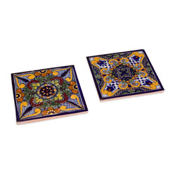 Moroccan Midnight Talavera Tile Trivets, Set of 2