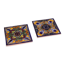 Native Trails - Moroccan Midnight Talavera Tile Trivets, Set of 2 - Serve your hot dishes tile style with these hand-painted trivets. Inspired by the vibrant colors of Morocco, they'll protect your tabletops and provide an eye-catching backdrop for the items they hold.
