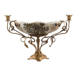 Oriental Danny - Exquisite Porcelain Centerpiece with Bronze Candle Cups - Hand painted porcelain centerpiece in sage green with Fern pattern. Accented with intricate bronze ormolu. The handles are made of two flower shaped candle cups that can hold taper candles. A true elegant centerpiece designed by Oriental Danny.