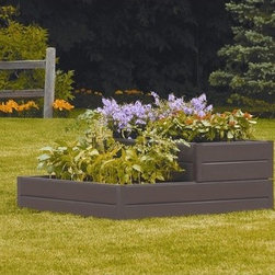 Suncast - Tiered Raised Square Garden Bed Planter - Features: -Bed planter.-Square shape.-Great for growing your own vegetables.-Tiered design allows more growing options in a small footprint.-Can be built into multiple garden shapes.-Easy to use connectors keep panels securely in place.-Steel stakes hold panels to ground.-Maintenance free - no painting, splinters, or rotting.-Includes 6 long panels, 2 short panels, 4 stakes and 8 connectors.-Fiberglass / Rigid resin construction.-Distressed: No.-Country of Manufacture: United States.Dimensions: -Panel size: 9'' tall.-Dimensions: 18'' H x 48'' W x 48'' D.Assembly: -Assembly required.