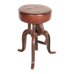 """YOSEMITE HOME DECOR - Adjustable Stool - A unique height adjustable barstool. This combination of leather and cast iron are the perfect addition to any home  kitchen or bar area. A cast iron tri-leg base features a handy handle to allow you to adjust the seat height by  simply turning the handle. Seat adjusts from 20""""-27"""". Assembled, Made in India.  Overall Item Dimension 20""""Wx20""""Dx27""""H"""