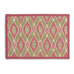 Pink & Green Handwoven Ikat Tailored Placemat Set - Class up your table's act with a set of Tailored Placemats finished with a contemporary contrast border. So pretty you'll want to leave them out well beyond dinner time! We love it in this pink & green handwoven diamond ikat.  an artisan classic straight from india to your home.