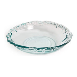 Danya B - Large Round Clear Artisan Recycled Glass Rippled Edge Shallow Bowl - This gorgeous Large Round Clear Artisan Recycled Glass Rippled Edge Shallow Bowl has the finest details and highest quality you will find anywhere! Large Round Clear Artisan Recycled Glass Rippled Edge Shallow Bowl is truly remarkable.
