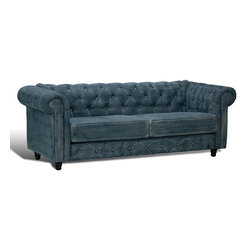 "Sarreid Ltd - Chesterfield Sofa in Denim by BSEID - The epitome of a classic style updated. It starts with a eucalyptus wood frame. Next, acquire worn denim. Upholster in a Chesterfield style with amazing tufting and metal buttons. Keep the large rolled arms for leaning into. Get a couple of fluffy pillows and a soft throw. Begin the movie. (SAR) 85"" wide x 31"" deep x 31"" high"
