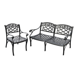 Crosley - Sedona 2 Piece Cast Aluminum Outdoor Conversation Seating Set - Dimensions:  Chair 26W x 29.5D x 31H inches.