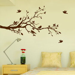 "Innovative Stencils - Tree Branches Wall Decal Love Birds Vinyl Sticker Nursery Leaves 56"" Wide X 28"", - MADE IN THE USA with 100% USA MATERIALS"