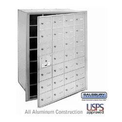 Salsbury Industries - 4B+ Horizontal Mailbox - 28 A Doors (27 usable) - Aluminum - Front Loading - USP - 4B+ Horizontal Mailbox - 28 A Doors (27 usable) - Aluminum - Front Loading - USPS Access
