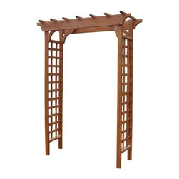 Leisure Season Ltd - Arbor - Turn your yard into a canvas. Eye-catching arbor enhances the beauty of your garden while giving climbing vines and plants the freedom to grow. Double lattice panels make this arbor ideal for accenting a walkway or small path. Crafted of solid wood harvested from the Cypress tree family with decay resistance similar to Western Red Cedar. Moisture resistant for maximum weather protection sustains beauty and performance. Easy-to-follow assembly instructions inside package. Ships anywhere in North America.