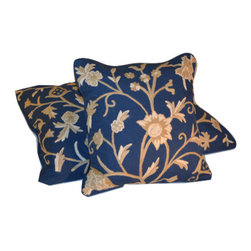 Crewel Fabric World - Crewel Pillow Sham Tree of Life Neutrals on Royal Blue Cotton Duck 16x16 Inches - Artisans in a remote mountain village in Kashmir crewel stitch these blossoms, vines and leaves by hand, resulting in a lush pattern of richly shaded wool yarns on Linen, Cotton, Velvet, Silk Organza, Jute. Also backed in natural linen, Cotton, Velvet Silk Organza, Jute with a hidden zipper.