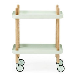 Peggy Cart Table in Mint - From its peg legs that extend into handles to its happy minty-colored shelves, this useful wheeled table exudes retro charm. Roll it from room to room for use as a nightstand, side table, bar cart, printer cart, and many other great options.