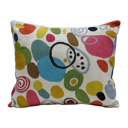 Kim Parker Inc. - Samba Pillow With Insert - An exuberant explosion of circles and spirals, this throw pillow lovingly captures the artistry of celebrated designer Kim Parker. Made from 100 percent New Zealand wool and individually embroidered by hand, this is a masterwork of color and craft that's sure to be treasured for years.