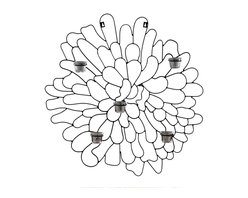 Fashion N You - Wall Candle Holder - Add style and illumination to your home with this unique wall sconce candle holder. A simple dark metal outline of the calendula petals form a flower wall hanging that's understated and soothing.